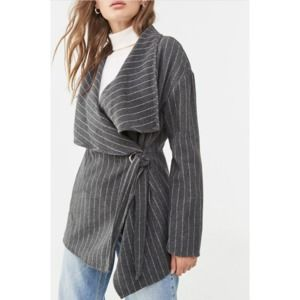 FOREVER 21 Woven Pinstripe Trench Jacket Pea Coat